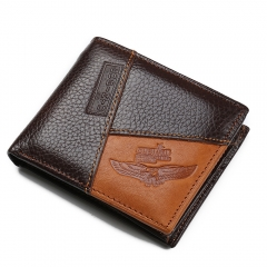 Genuine Leather Men Wallets Pocket Zippe Coin Purse Eagle Pattern one size