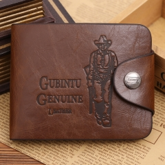 Men Wallets Male Business Retro Leisure Purse Card Bag hunter prints middle button