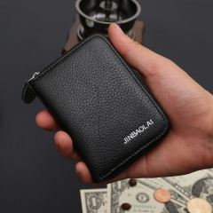 Men Wallet Women Small Clutch Genuine Leather Wallets Card Holder Money Pocket black one size