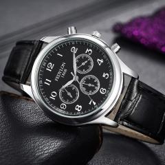 Men Watch New Fashion Boy Watches Leather Strap British Style Casual Business Quartz Wristwatch black balck one size