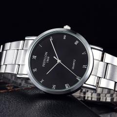 Fashion Watch Men Stainless Steel Simple British Style Roman Numeral Dial Business Quartz Wristwatch black one size