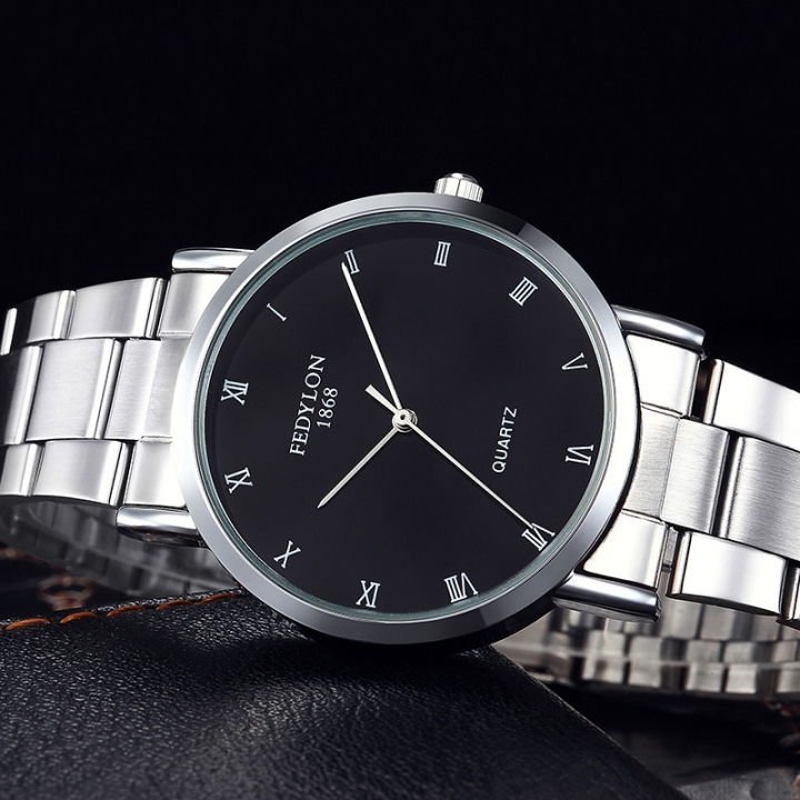 Fashion Watch Men Stainless Steel Simple British Style Roman Numeral Dial Business Quartz Wristwatch black one size