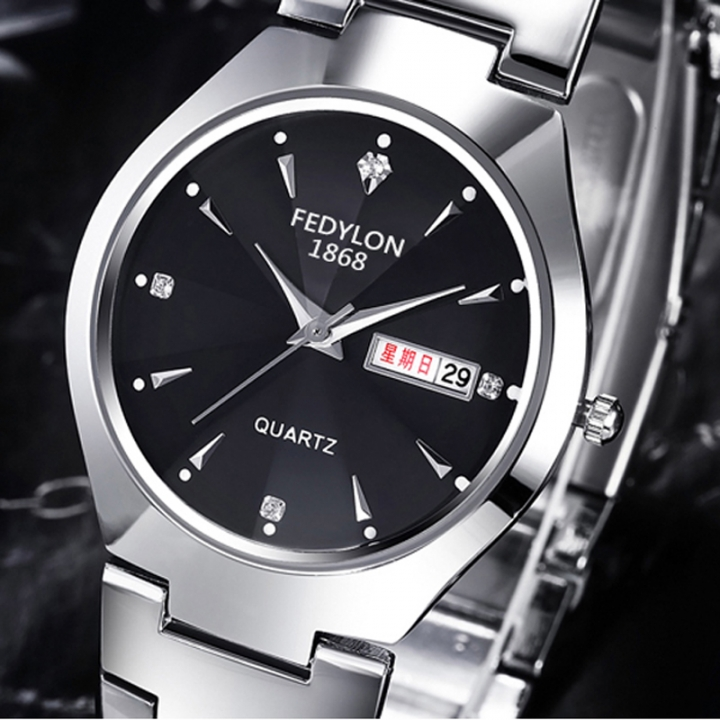 Brand Luxury Business Men Wristwatches Good Quality Dual Calendar Lovers Watches Women Quartz-Watch men black one size