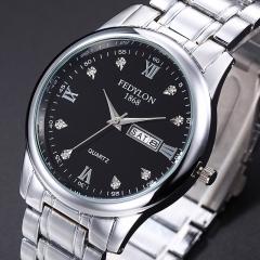Men Watch Luxury Business Watches Classic Week Calendar Women Quartz Watch Lovers Wristwatch men black one size