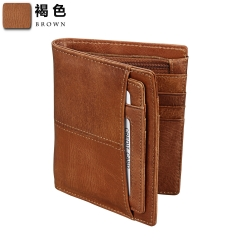 Men Wallet Genuine Leather Short  Wallets Theft Brush Purse brown one size