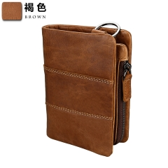 Cowhide Wallets Short Genuine Leather Men Wallet Card Holder Coin Money Male Purse Card Holder brown one size