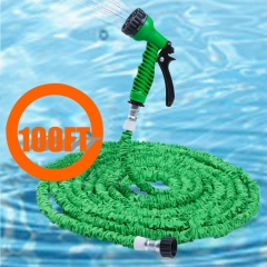 100FT Expandable Garden Hose Pipe with 7 in 1 Spray Gun green 100FT