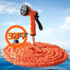 50FT Expandable Garden Hose Pipe with 7 in 1 Spray Gun orange 50ft