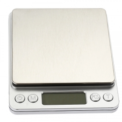 i2000 3kg 0.1g Mini Digital Scale Stainless Steel Platform Weighing Tool with Tray silver one size