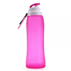 500ML Foldable Leakproof Silicone Water Bottle for Outdoor Sports Camping Hiking Bicycle rose