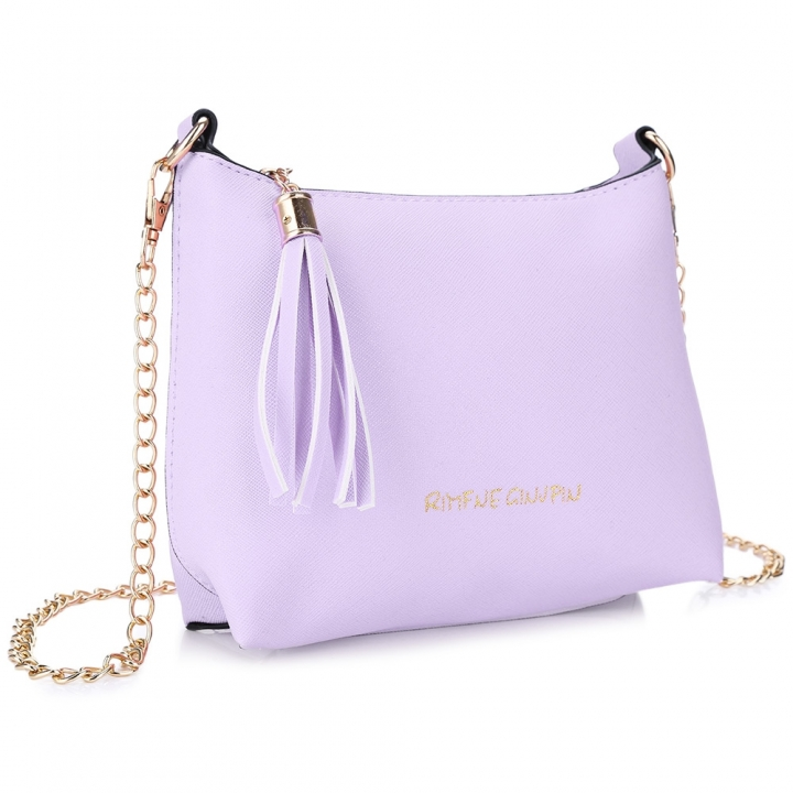 Guapabien Tassel Letter Detachable Chain Zipper Shoulder Messenger Shell Bag purple one size