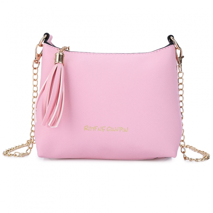 Guapabien Tassel Letter Detachable Chain Zipper Shoulder Messenger Shell Bag pink one size