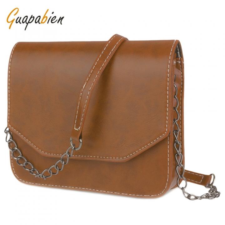 Guapabien Fashion  Magnet Button Chain Belt Strap Solid Color Shoulder Messenger Bag for Lady light brown one size