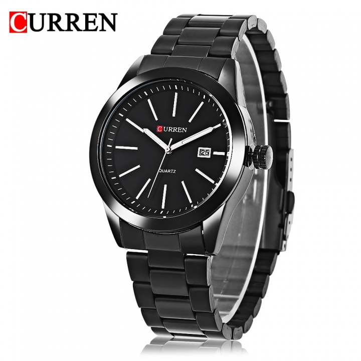 Men Quartz Watch Date Display Luminous Water Resistance Stainless Steel Strap Wristwatch black one size