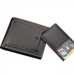 Men Small Wallet Short Purse Money Bag PU Leather Pocket Main Portfolio Design Clutch black one size