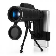 40X60 Monocular Telescope HD Prism Scope with Compass Phone Clip Tripod balck