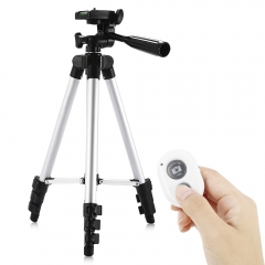 Camera Camcorder Flexible Three-way Head Tripod with Bluetooth 4.0 Remote Controller silver black one size