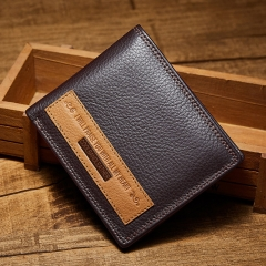 Men's Leather Wallet Cowhide Leather Wallet brown horizontal