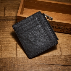 Men's Card Pack Genuine Leather Simple Credit Card Zipper First Layer Leather  Wallet Card Package black one size