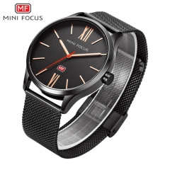 2019 New Top Fashion Brand Mens Watches Luxury Casual Quartz Watch Stainless Steel Mesh Band Clock black one size