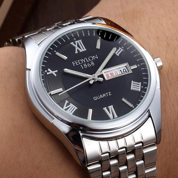 Top Brand Luxury Men Quartz Watches Steel Strap Dual Calendar Waterproof Wristwatches Male Clock black one size