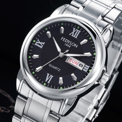 Brand Luxury Quartz Watches for Men Stainless Steel Dual Calendar Waterproof Wristwatch Male Clock black silver one size