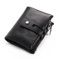 Genuine Leather Wallet Men Card Wallets Male Cudan Purse Coin Purse Big Volume Double Zipper Bag black one size