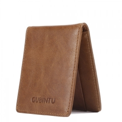 Men Wallet Cow Leather Slim Small Card Holder Fashion Genuine Leather Mini Purse coffee one size