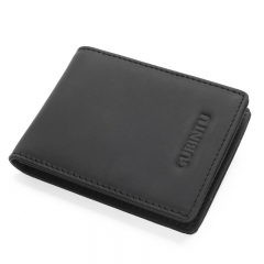 Men Wallet Cow Leather Slim Small Card Holder Fashion Genuine Leather Mini Purse black one size