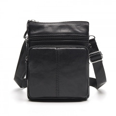 Genuine Leather Men Bag Cowhide Single Shoulder Bag Oblique Satchel Large Capacity Vertical Bag black one size