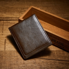 Men Genuine Leather Wallet Vintage Purse Short Wallets Simple Leisure Horizontal Cowhide Wallet coffee one size