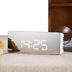 TS - S69 Multifunctional Noiseless LED Mirror Clock Display Time / Temperature whtie square