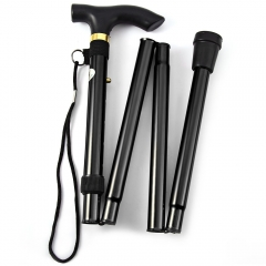 Aluminum Metal Folding Walking Stick with Adjustable Height and Non-slip Rubber Base black