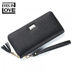 Women Long PU leather Wallet Large Capacity Wallet Female Purse Lady Clutch Phone Pocket Card Holder black one size