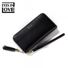 Ladies Long Handbags PU Leather Wallet Women Money Bag Female Purse Zipper Clutch Card Holder black one size