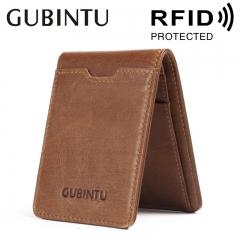 Slim Wallet Vintage Genuine Leather Men Money Clip RFID Blocking Card Pocket Male Short Wallets coffee one size