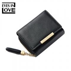 Short Women Wallets Fashion Tassel Zipper Purse Girls Small Leather Wallet Female PU Coin Pocket black one size