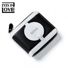 Fashion Women Purse Thin Zipper Wallet Ladies PU Leather Wallets Female Purse Mini Card Case black one size