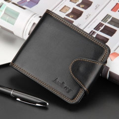 Men Horizontal Wallet Cash Coin Photo Card Purse black one size
