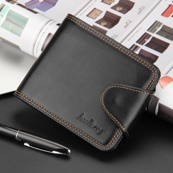 Men Horizontal Wallet Cash Coin Photo Card Purse black one size