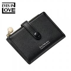 Short Wallet Zip Women Purse Card Coin Holder Mini Wallets Female Small Purses Cash Money Bag black one size