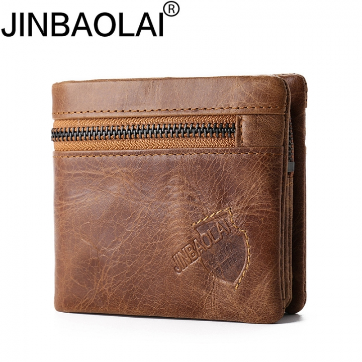 Crazy Horse Genuine Leather Wallet Men Coin Purse Card Holder Mini Male Bag Magic Small Wallets brown one size