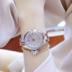 Bs Women Fashion Watch Luxury Brand Ladies Quartz Rhinestone Wristwatches Clock Female Watches silver