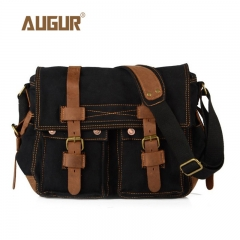 Laptop Satchel Bags Men Messenger Bags Military Vintage Canvas Bags black one size