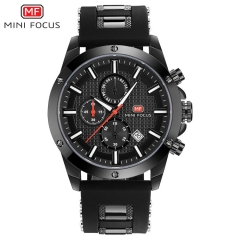 MINIFOCUS Fashion Sport Watches Men Quartz Analog Date Clock Man Silicone Military Waterproof Watch black one size
