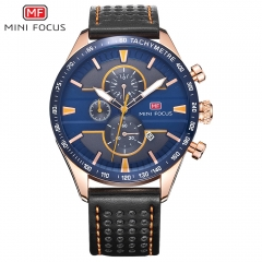Men Watch Quartz Clock Genuine Leather Strap 3 Sub-dials 6 Hands Date Chrono Fashion Wrist Watches black blue one size