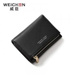 WEICHEN Women Wallet Fashion Wallet Short Purse Girl Clutch Bag Multi-card Wallets black one size