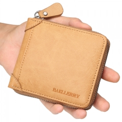 Baellerry Men Vintage Zipper Short Wallet PU Leather Money Pocket Card Holder Coin Purse brown one size