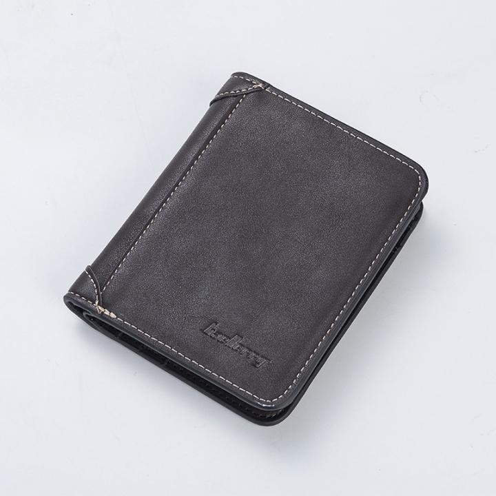 Baellerry Men Wallet Male Short Soft Leather Retro Wallet Credit Card Holder Pocket Mens Money Purse black horizontal