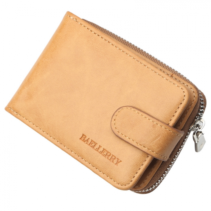 Business Men Zipper Hasp Accordion Short Wallet PU Leather Money Pocket Card Women Holder Purse brown one size